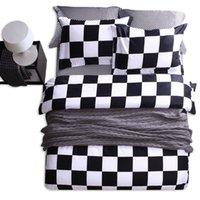 Wholesale gray queen bedding sets online - Classic Black and White Bedding Set Brief Style Quilt Cover Set with Pillowcase Cotton Nice Gift for Family Queen Size