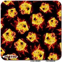 Wholesale popular poker - TAkw9035 poker design Flame 0.5m*10m Popular Skull Hydrographic Film Liquid Image Water Transfer Printing Film