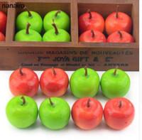 ingrosso mele verdi di plastica artificiale-50pcs mini verde artificiale mela super piccole mele schiuma plastica falso frutta artificiale modello partito cucina decorazione di cerimonia nuziale