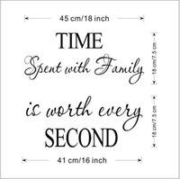 Wholesale Clock Stickers For Wall - Free shipping Time Spent With Family Quote Wall Decoration Letters Vinyl Home Wall Decor Sticker Art Quote DIY Murals Decals Clock Decoratio
