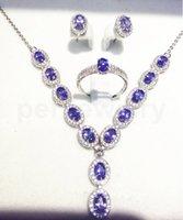 ожерелье из ожерелья оптовых-Натуральный танзанит стерлингового серебра 925 пробы Натуральный настоящий танзанит 1шт кольцо, 1шт ожерелье, 1 пара серьги стержня 0.5ct * 15шт самоцветы