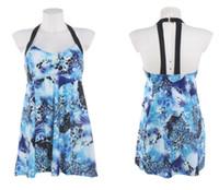 Wholesale America Swimsuit - 2018 Blue Print Siamese Dress Skirt Large Size Bathing Suit Europe and America Fertilizer High Waist Maternity Swimsuit