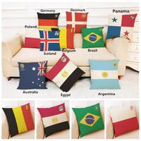 Wholesale Flax Weaving - Football World Cup National flag pillowcase Top 32 countries flax pillow case for Bar Club souvenir good quality YYA1124