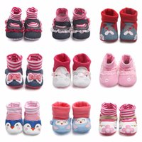 Wholesale pink newborn booties - Baby Boots Cartoon Cute Cat Baby Girls Shoes Newborn Cotton Soft Sole Prewalker Toddler Kids Booties Infant First Walker For boy