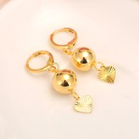 Wholesale hanging copper earrings for sale - Beads smooth heart hang Earrings for Women Girls k Fine Gold Yellow Color GF Ball Earing Jewelry Gifts African Indonesia