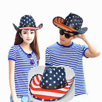 Wholesale straw jazz hat women for sale - Luxury Brand Design Sun Hats For Women Men Suede West Cowboy Jazz Equestrian Caps Outdoor Beach American Flag Printing Straw Cap hr YY