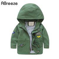 mavi açma toptan satış-İngiltere tarzı sonbahar çocuk Siper pamuk çocuklar kabanlar palto boys için 3Y 11Y renk yeşil mavi bebek erkek kapşonlu ceketler