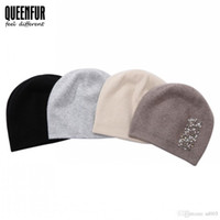 Wholesale rhinestone caps for women - QUEENFUR Autumn Winter Hat Cotton Double Knitted Solid Color Warm Fashion Hats Artificial Pearls Rhinestone For Women 37ts hhh