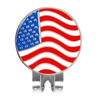 manyetik bayrak toptan satış-Yeni Kişiselleştirilmiş Amerikan Bayrağı Golf Topu Işaretleyici w / Manyetik Şapka Kap Klip Aksesuarları Sıcak