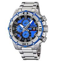 Wholesale men s watches for sale - F16599 Men s Quartz Watch the Tour De France Blue Dial Silver S S teel Band Chrono Bike Chronograph original box