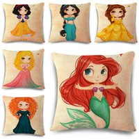 Wholesale Kids Pillow Cases - 2018 Vintage Cotton Linen Creative Girl Fairy Princess Throw Cushion Square Pillow Case Cover Kids Gift Bedding Wedding Home XL-546