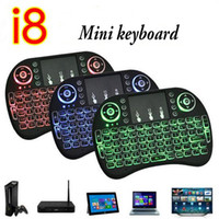 Hot selling Hot Mini i8 Air Mouse Mini Wireless Keyboard with three backlight air Mouse Touchpad Remote Controlers with blue red green color
