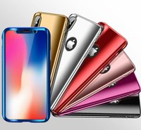 Wholesale Iphone Hard Screen Protector - 360 Degree Coverage Electroplating Plating Mirror Hard Case Cover For iPhone X 8 7 Plus 6 6S Samusng Galaxy S9 S8 Note with Screen Protector