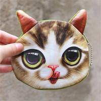 Wholesale key holders for wall - 3D Cat Cathead Purse Coin Mini Cute Key Bag Cartoon Animal Design Handbag Wallets Holders For Kids Best Gift New 2 9jo Z