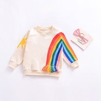 Wholesale no.1 sun - 2018 spring new child fringed rainbow sun pattern Long Sleeve Dress
