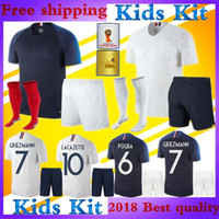 Wholesale White Shirts For Boys - For France kids kit 18 world cup GRIEZMANN Soccer Jersey Home blue away white Mbappé PAYET KANTE POGBA Dembelé KANTE Martial football shirt