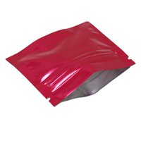 ingrosso fiori secchi rossi-100 pezzi rosso 7.5x6cm sacchetto di alluminio con chiusura a cerniera lampo sacchetto di strappo lacerazione con chiusura lampo Mylar auto sigillante foglio di Mylar pacchetto sacchetti per fiore essiccato