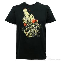 Wholesale black bottles tattoo resale online - Summer Famous Brand SAILOR JERRY Tattoo Sailor s Grave Rum Bottle Black Slim Fit T Shirt S XL NEW Hipster O neck cool tops