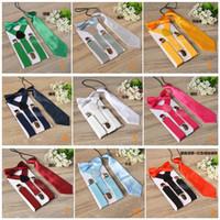 tirantes pajarita set niños al por mayor-Kids Suspenders Bow Tie Set para 1-10T Baby 17 colores Boys Girls Tirantes accesorios Tirantes Elastic Y-back LC677-1