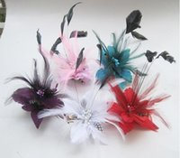 Wholesale flower hair clips brooch for sale - Group buy Wedding bridal hair accessories Feather Corsage hairwear headpiece Hair Clips pin Fascinator brooch Flower Corsage Brooch Pin Hair Band Clip