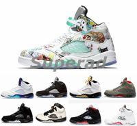 new style 9c6b8 fe30d Nike Air Jordan 5 5S SUP PSG Fresh Prince retro 5 alas hombres Zapatillas  de baloncesto PARIS Laney oreo OG White Grape Space Jam para hombre  zapatillas ...