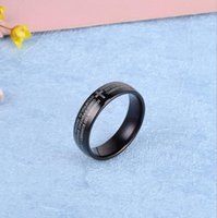 Wholesale simple cross rings - Classic popular simple Korean black plated Cross Stainless Steel lovers women wedding rings for girlfriend gift