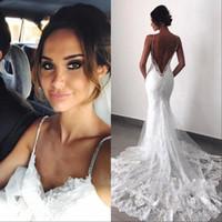 vestidos de casamento sexy venda por atacado-Sexy New Backless Vestidos de Casamento Do Laço 2019 Cintas de Espaguete Sereia Camadas Appliqued Boho Vestidos de Noiva BC0129