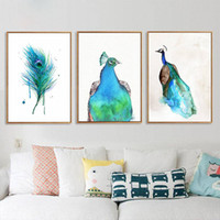 Wholesale peacock canvas prints resale online - Colorful beautiful animal peacock Canvas Paintings Nursery Wall Art Nordic Posters Print Pictures For Kids Room Home Decor