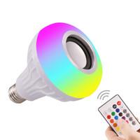 altavoz 1w al por mayor-E27 Colorido Bluetooth Música Luz Inteligente RGB Altavoz inalámbrico Bombilla de luz 220V 18W LED Bombilla Jugador Regulable Audio 24 Tecla Remoto