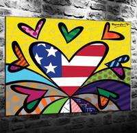 yağlı boya sanatı aşk toptan satış-Aşk İngiliz Pop Art, Tuval Boyama Oturma Odası Ev Dekor Modern Duvar Sanatı Yağlıboya