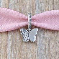 кулон бабочки 925 серебристый оптовых-Аутентичные стерлингового серебра 925 бусины порхают бабочки кулон Шарм подходит Европейский Пандора стиль ювелирные изделия браслеты ожерелье 791844CZ