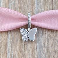 pingente de borboleta pandora venda por atacado-Authentic 925 Sterling Silver Beads Fluttering Borboletas Pingente Charme Serve Pulseiras Colar de Jóias Estilo Europeu Pandora 791844CZ