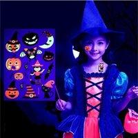 autocollants de tatouage enfants achat en gros de-Halloween Fluorescent Réutilisable Pour L'environnement Enfants Bande Dessinée Animation Animale Autocollant De Tatouage Scar Applique Bras CCA10346 600 pcs