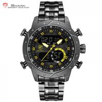 hai datum großhandel-SHARK Uhren Mode Lässig Analog Digital LCD Display Auto Datum Kalender Alarm Armbanduhr erkek kol saati Uhr für Männer / SH593