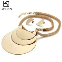 Wholesale girls big gold pendant online - Jewelry Sets For Women Color Hyperbole African Gold Stainless Steel Big Pendant Statement Necklace Earrings Set For Patry