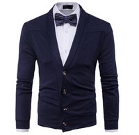 Wholesale british knitting wool for sale - Autumn Winter Clothes New Men s Fashion Casual Sweater British Retro V neck Cardigan Men Slim Sweater jacket High Quality