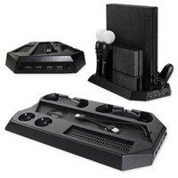 controlador ps4 más frío al por mayor-Base de carga vertical multifunción para Sony PS4 Pro Estación de carga PS Controller PSVR Gamepad con ventilador