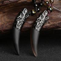 obsidien muska kolye toptan satış-Doğal Taş Siyah Ve Buz Obsidyen Kolye Kolye Kurt Diş Muska Ve Kadınlar Ve Erkekler Için Talismans Çift Kolye Y18102910