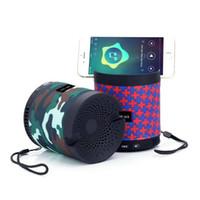 ingrosso altoparlanti del bluetooth per i cellulari-Altoparlante Bluetooth mini con supporto per telefono Altoparlante stereo HF-U3 Altoparlanti portatili all'aperto con microfono TF USB FM per telefono cellulare
