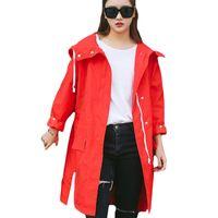 Wholesale thin red trench coat - 2017 Spring Casual Trench Coat Women Side Split Zipper Front Hooded Overcoat Plus Size Loose Boyfriend Thin Windbreaker XH252