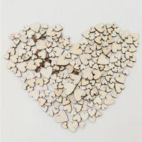 enveloppes violet foncé achat en gros de-Bouton en bois 100 pcs 4 Taille Mixte Amour Coeur Forme Rustique Table De Mariage Scatter Décoration Home Decor