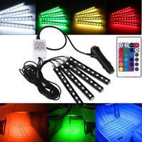 dekoratif zemin lambası toptan satış-7 Renk Araba İç Mekan Dekorasyon Işıkları RGB 9 LED Lamba Şerit Dekoratif Atmosfer Işık Araba Styling ile Kablosuz Uzaktan Kumanda