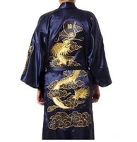 Wholesale navy blue silk kimono online - Navy Blue Chinese Men s Satin Silk Robe Embroidery Kimono Bath Gown Dragon Size M L XL XXL XXXL