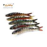 señuelos de pesca al por mayor-Wobblers de pesca Lifelike Fishing Lure 8 Segment Swimbait Crankbait Hard Bait Slow 30g 14cm Con 6 # Ganchos de pesca
