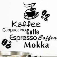 cor impressão venda por atacado-Tema do café Cor Sólida Estilo Moderno Removível Adesivos de Parede para Decoração Da Arte Da Cozinha Decalques de Vinil Cafe Poster Murais K522