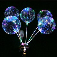 Wholesale Colorful Light Bubble - Luminous LED Transparent Clear BoBo Balloon 18 inch Light Colorful Wave Helium Ball for Birthday Wedding Christmas Party Decorative Light Up