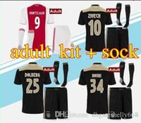 ba8564d36 Top quality 2018 2019 Ajax FC Away Soccer Jerseys uniforms 18 19 DOLBERG  ZIYECH HUNTELAAR YOUNES MEN Ajax Football Shirt kit with socks