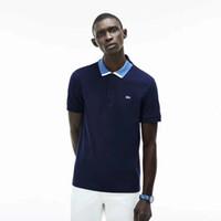 новая одежда в стиле англия оптовых-Мужская Марка рубашка поло новые мужские повседневная с коротким рукавом рубашки поло Мужчины Англия стиль сплошной черный одежда для мужчин топы Tee T8958