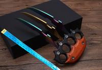büyük cep bıçakları toptan satış-Toptan ahşap kolu büyük büyük pençe itme bıçak tactica bıçak karambit Avcılık cep hediye bıçak Ücretsiz kargo