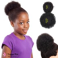 Wholesale kids hair combs - Afro Curl Drawstring Ponytail Puff Synthetic Chignon Plastic Combs Updo JUMBO KINKY CURLY AFRO PUFF for black women USA kids afro hair